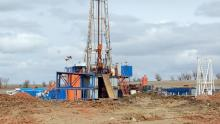 A drill rig owned by Enid, Okla.-based Continental Resources Inc. aims for oil from the Bakken Shale.