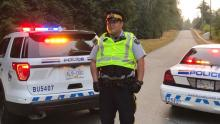 Burnaby RCMP have increased their presence in the camp area, located at the intersection of Underhill Avenue and Shellmont Street.(Yvette Brend/CBC)