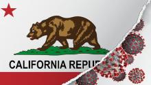 California flag and Covid