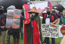 Laichkwiltach Hereditary Chief George Quocksister Jr. speaks at a Campbell River protest last Saturday calling for the removal of Discovery Islands fish farms. Photo by Rochelle Baker