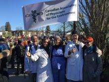 Photo of CAPE physicians protesting Kinder Morgan pipeline expansion from Facebook