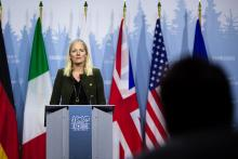 Environment and Climate Change Minister Catherine McKenna speaks with reporters at the G7 summit in Charlevoix, Que. on June 8, 2018. Photo by Alex Tétreault