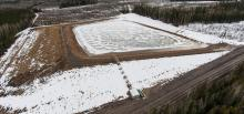 """An unauthorized Progress Energy dam where millions of gallons of freshwater was found impounded in early April. It is among """"dozens"""" of unpermitted dams spread across northern BC, a CCPA investigation has found. Photo by Garth Lenz."""