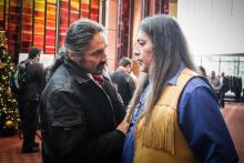 Chief Allan Adam (left) from the Athabasca Fort Chipewyan First Nation chats with Grand Chief Serge Simon from the Mohawks of Kanesatake at a Special Chiefs Assembly hosted in Gatineau Que. on Dec. 8, 2016. Photo by Mike De Souza