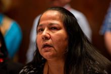 Chief Judy Wilson speaks to reporters about Kinder Morgan's Trans Mountain pipeline expansion at the Hilton Lac-Leamy in Gatineau, Que. on May 2, 2018. Photo by Alex Tétreault