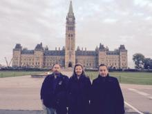West Moberly First Nation Chief Roland Willson, Fort Nelson First Nation Chief Liz Logan and UBCIC Grand Chief Stewart Phillip in Ottawa in Sept. 2014. Phillip is calling on BC Hydro to back off a First Nations protest encampment on the south bank of the Peace River.   Photo By Twitter photo