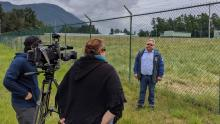 Chief Dalton Silver of Sumas First Nation speaking to media after the latest oil spill on their territory (Photo: Rueben George).
