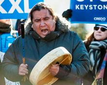 Cree activist Clayton Thomas-Muller, shown at a Keystone XL protest last January, is organizing First Nations opposition to the Energy East Pipeline.