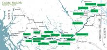 Indigenous band agreements in place along the Coastal GasLink Pipeline route. Supplied