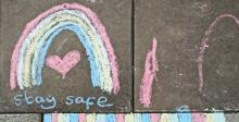 Sidewalk chalk rainbow - Image: Amanda Slater/Flickr
