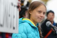Swedish climate activist Greta Thunberg speaks at a rally at the Alberta Legislature Building in Edmonton, on Friday, Oct. 18, 2019. File photo by The Canadian Press/Dave Chidley