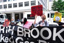 Environmentalists launch a gas bill strike outside National Grid's MetroTech Center headquarters on June 1. Photo by Kevin Duggan