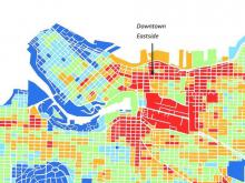 Vancouver's Downtown Eastside is one of the hottest neighbourhoods in the city due to its lack of green space and abundance of pavement. Map from Urban Forest Strategy, 2018 update, City of Vancouver.