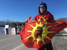 Protesters blocked a portion of Highway 102 in Nova Scotia on Tuesday morning in support of the anti-pipeline protests in B.C.  Reynold Gregor/Global News