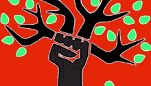 A Strategic Perspective for Uniting Ecosocialists in Québec - image of clenched fist holding a tree