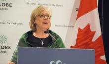 Green Party leader Elizabeth May calls on the federal Liberals to meet their climate action deadlines during the 2016 Globe Series in Vancouver, B.C. on Wed. March 2, 2016. Photo by Elizabeth McSheffrey.