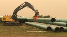 Enbridge hosted a pipeline construction tour in Morden on Thursday. (Sean Kavanagh/ CBC)