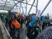 The Burrard Bridge belonged to pedestrians, not cyclists, on October 7. CHARLIE SMITH