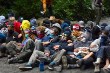 Close to 1,000 old-growth activists at the Fairy Creek blockades have been arrested, making it the largest civil disobedience movement in Canada. Photo courtesy of Rainforest Flying Squad / Facebook
