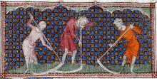 Harvesting grain in the 1400s