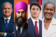 Canada election Sept. 2021 From left: Conservative Leader Erin O'Toole, NDP Leader Jagmeet Singh, Liberal Leader Justin Trudeau and Green Leader Annamie Paul. Photos by Erin O'Toole/Flickr, Alex Tétreault and Rebecca Wood