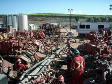 An example of a fracking operation at the Bakken Formation in North Dakota. Photo by Joshua Doubek