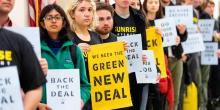 Sunrise Movement protesters advocate that Democrats support the Green New Deal inside the office of Rep. Nancy Pelosi in Washington, D.C. on Dec. 10, 2018. Photo: Michael Brochstein/SOPA Images/LightRocket via Getty Images