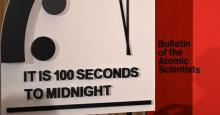 The Doomsday Clock reads 100 seconds to midnight—a decision made by the Bulletin of Atomic Scientists—during an announcement at the National Press Club in Washington, D.C. on Jan. 23, 2020. (Photo: Eva Hambach/AFP via Getty Images)