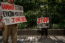 Demonstrators attend a rally calling for the extension of the eviction moratorium in New York City on August 11, 2021. (ED JONES/AFP via Getty Images)