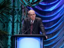 Bill McKibben accepts the EMA Lifetime Achievement Award onstage during the 23rd Annual Environmental Media Awards at Warner Bros. Studios on October 19, 2013 in Burbank, California. (Michael Buckner / Getty Images)