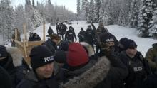 Militarized police moving in on the Gidimt'en Checkpoint on Wet'suwet'en territory in northeastern B.C., on Jan. 7, 2019. Photo by Michael Toledano