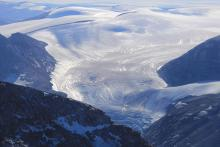 A glacier around Sam Ford Fiord, Baffin Island, is in retreat from a warming climate. (Photo: Chris Williams)