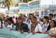Indigenous activists with the Guardians of the Forest coalition take part in the Rise For Climate day of action in San Francsco, California on September 8, 2018. Photo Credit: Joel Redman/If Not Us Then Who.