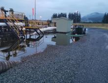 The Sumas Pump Station on the morning of June 13, 2020 showing the oil spill before cleanup. Trans Mountain photo