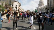 Young demonstrators in Havana.