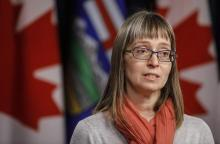 Alberta chief medical officer of health Dr. Deena Hinshaw updates media on the Covid-19 situation in Edmonton on Friday, March 20, 2020. File photo by The Canadian Press/Jason Franson