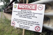 Kalamazoo River Closed Sign