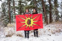 Mayuk Manuel, seen here in a March, 2018 photo with her twin sister Kanahus Manuel, was one of three people arrested on Dec. 10 outside Thompson Rivers University in Kamloops. File photo by Sarah Anne Johnston
