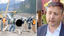Burnaby South MP Kennedy Stewart says he expects British Columbians are prepared to engage in civil disobedience to stop the expansion of the Trans Mountain pipeline. (Left photo: Trans Mountain, right photo: CBC)