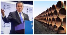 Alberta Premier Jason Kenney in Calgary on Feb. 26, 2020. Photo by The Canadian Press/Jeff McIntosh. Pipes intended for construction of the Keystone XL pipeline, April 22, 2015. Photo by The Canadian Press/Alex Panetta