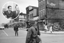 'US News & World Report' photograph of soldier standing guard on the corner of 7th & N Street NW in Washington, DC, with the ruins of buildings destroyed during the riots following the assassination of Martin Luther King Jr. on April 8, 1968. Oklahoma Senator Fred Harris (D-OK) with members of the Kerner Commission (inset). Photo credit: Library of Congress / Wikimedia and Library of Congress / Wikimedia