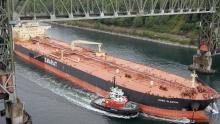Tanker going under bridge in Vancouver