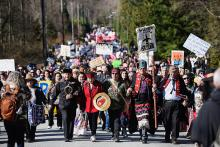 Indigenous leaders led a march against the Kinder Morgan Trans Mountain pipeline expansion. And the Protest Papers suggest CSIS was watching. Photo by Rogue Collective.