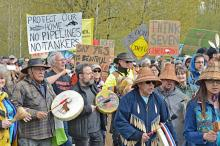 Protesters marched through Fort Langley to oppose an expanded Trans Mountain Pipeline
