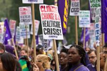 Members of the health care union 1199SEIU at the 2014 People's Climate March in New York City. (maisa_nyc / Flickr)