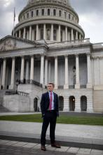 Benjamin Backer, 21, on Capitol Hill last month. He founded the American Conservation Coalition, a conservative group that advocates for environmental policies.Credit...Ting Shen for The New York Times