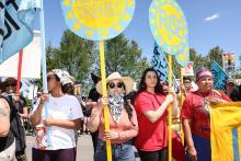 Demonstrators near Park Rapids, Minn., on Monday.Credit...Tim Gruber for The New York Times