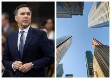Lobbying of the Federal government was up 60% in March compared to the same month in 2019. File photo of Bill Morneau by The Canadian Press / Adrian Wyld. File photo of Toronto financial buildings
