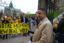 NDP MP Matthew Green speaks with the media after youth climate activists are removed from a House of Commons climate protest in October 2019. Photo by Spencer Mann