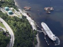An aerial view of Kinder Morgan's Trans Mountain marine terminal, in Burnaby. JONATHAN HAYWARD / CP